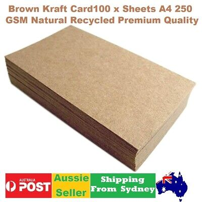 100 x A 4  Natural Brown Kraft Card(Paper) for wedding invitation 250 GSM