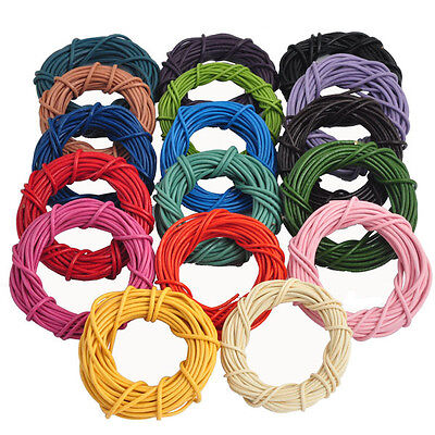 Lots 5 M Solid Real Leather Necklace Charms Rope String Cord 1.5 2.0 mm 15Colors