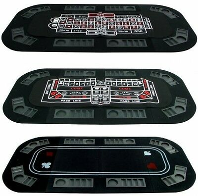8 Player Poker Roulette Casino Crap Travel Table Topper Game 3n1 Tri-fold w/Case