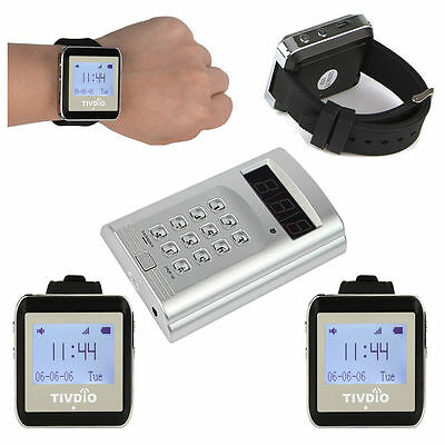 433MHz RF Wireless Calling System Waiter Call Paging System &4pcs Watch Receiver