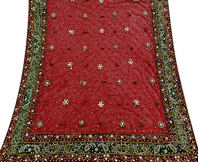 Vintage Indian Bridal Dupatta Long Scarf Heavy Beaded Fabric Used Maroon Stole