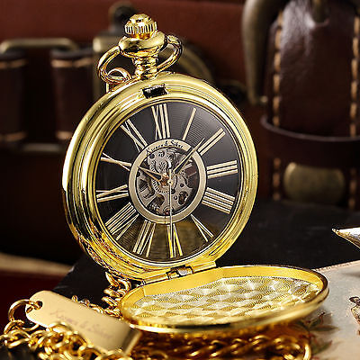 Gold Full Hunter Case Black Vintage Roman Skeleton Mechanical Men's Pocket Watch
