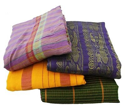 Lot Of 4 Vintage Indian Saree Mix Woven Fabric Decor Antique Multicolor Sari 5Yd