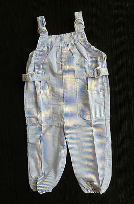 BABY CLOTHES BOY 6-9m & 9-12m BLUE/WHITE STRIPE COTTON DUNGAREE LIGHTWEIGHT NEW!