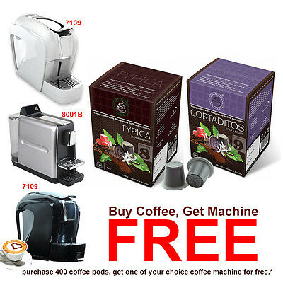 400 Espresso Coffee Pods + FREE 1 Nespresso Camptiable Coffee Capsule Machine