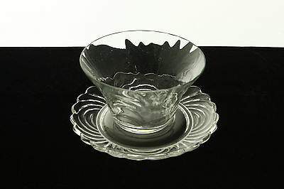 Rare Cambridge Glass Caprice Crystal # 300 Blown Finger Bowl & Underplate Set
