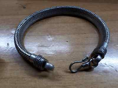 bagno argento indiano bracciale 35 gr snake piatto bracelet PLATED indian silver