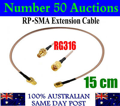15cm RP-SMA Female Nut to RP-SMA Male Coax Wire Pigtail Cable RG316