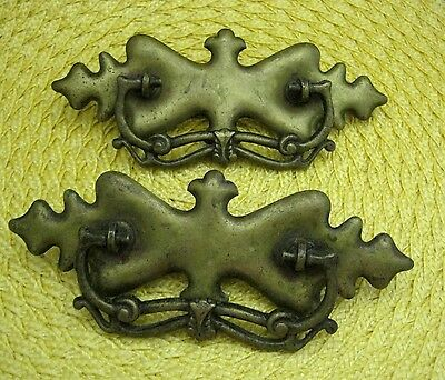 "Lot of 2 Vintage Victorian Pulls Drawer Handles Gold Tone 7"" x 2 1/2"""
