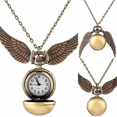 HALSKETTE HARRY POTTER Golden Snitch Quidditch GOLDENER SCHNATZ MIT UHR bronze