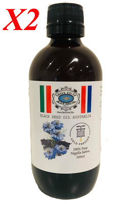 2x 100% Pure Black Seed/Kalonji/Nigella Sativa/200ml/Oil Cold Pressed in AUS