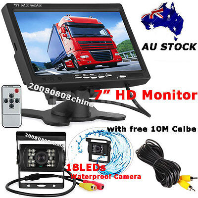 "18LEDs IR Reversing Camera +7"" Color LCD Monitor Bus Truck Rear View Kit 12V-24V"