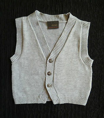 Baby clothes BOY 3-6m NEXT grey knitted sleeveless sweater waistcoat SEE SHOP!