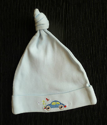 Baby clothes BOY 3-6m Tiny Ted blue knotted cotton hat embroidered car SEE SHOP!
