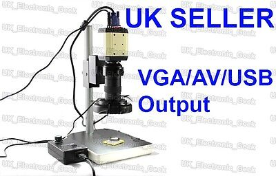 USB Microscope 800TVL Industrial Camera AV/VGA/USB Output/Holder/C-Mount/Light