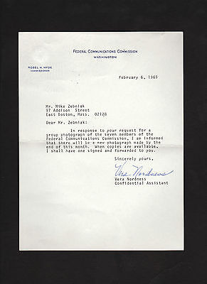 FCC 1969 letter signed by Vera Nordness * Federal Communications Commission