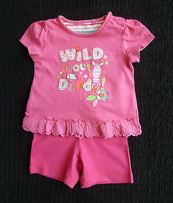 Baby clothes GIRL 6-9m TU/H&M bright pink outfit applique top short sleev/shorts