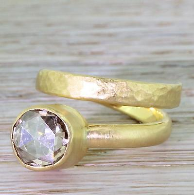 """1.50ct ROSE CUT DIAMOND """"COILED"""" SOLITAIRE RING - Hammered 18k Yellow Gold"""