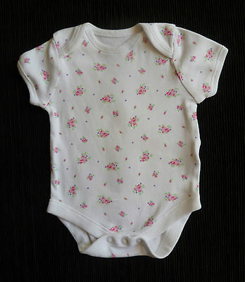Baby clothes GIRL 0-3m white/mid-pink floral soft cotton bodysuit short sleeve