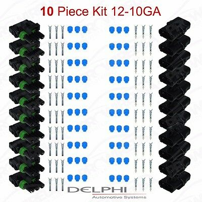 Delphi Weather Pack 3 Pin Sealed Connector Kit 12-10 GA !!!10 COMPLETE KITS!!