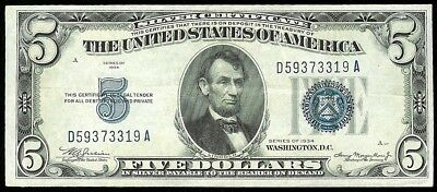1934 United States $5 Dollar Silver Certificate Note Au  Condition