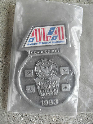 Vintage 1983 AVA National Physical Fitness Month Co Sponsor Medal Pin