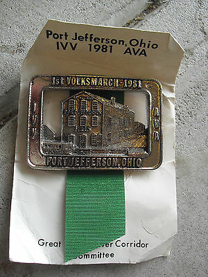 Vintage 1981 1st AVA Volksmarch Port Jefferson Ohio Pewter Medal Pin