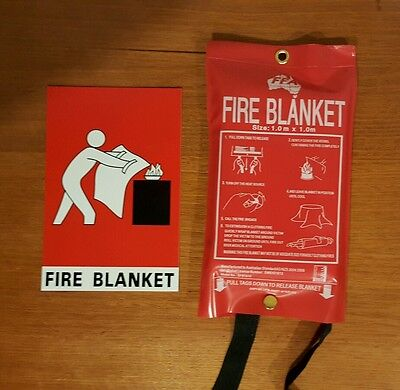 Fire blanket and sign.