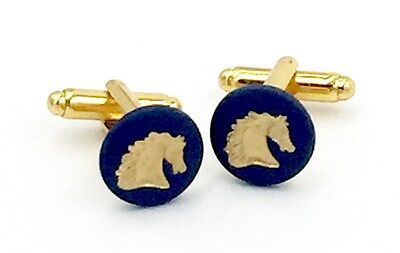 Authentic Wedgwood Cameos Gold Plate Cufflinks - Portland Blue 13mm Horse Heads