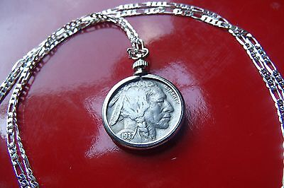"""Antique 1930's USA Buffalo Nickel COIN Pendant on a 30"""" Sterling Silver Chain"""