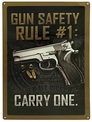 "GUN SAFTEY RULE ONE ""CARRY ONE"" NOVELTY Man Cave Hunting Metal Wall Sign 12""X17"""