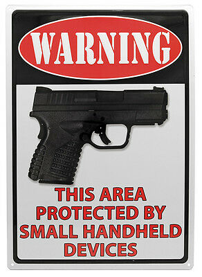 "WARNING""This Area Protected by Small "" NOVELTY Man Cave Hunting Metal Wall Sign"