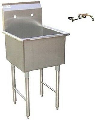 stainless steel economy prep utility sink and lead free faucet 18 x 18 - Stainless Utility Sink