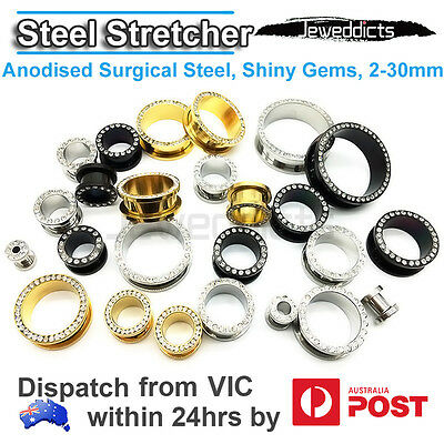Surgical Steel Stretchers Tunnels Plugs Screw Ear Piercing 2-30mm Body Jewellery