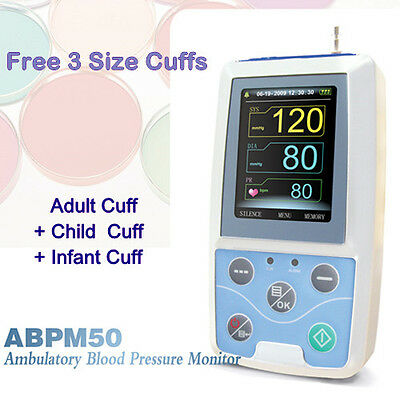 Contec ABPM50 Ambulatory Auto Blood Pressure Monitor + Adult/Child/Infant Cuffs