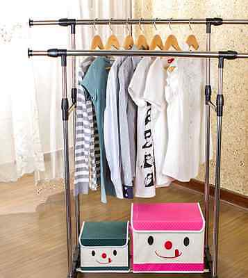 Portable Stainless Steel Double Clothes Garment Rack Hanger Home Shop Display AU