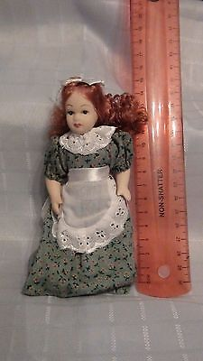 Miniature Porcelain Doll With  Red Hair In Dress & Apron - New