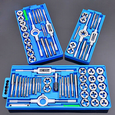 12/20/40 Pcs METRIC Tap and Die Set with Case Hardware Tools Thread Tapping NEW
