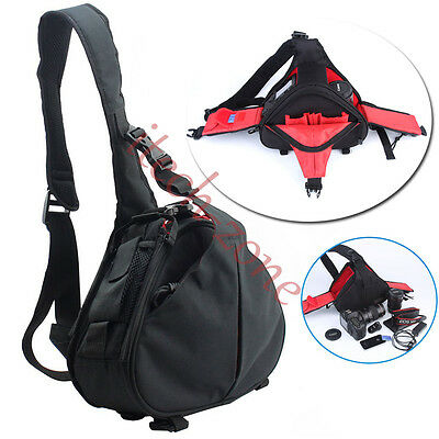 Pro Waterproof Camera Sling Shoulder Case Bag for Canon EOS Nikon SLR DSLR Black