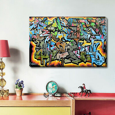 Graffiti Abstract Stretched Canvas Print Framed Wall Art Home Office Decor Gift