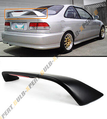 FOR 96-00 HONDA CIVIC 2DR COUPE 6TH Si BLK TRUNK SPOILER WING W/ LED BRAKE LIGHT