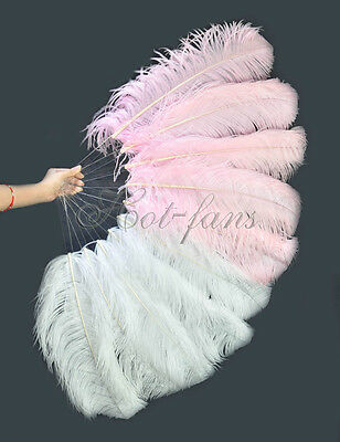 """A pair mix White Pink Single layer Ostrich Feather fan 24""""x41"""" burlesque dancer"""