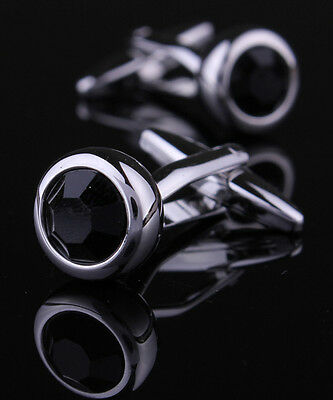 Silver Cufflink Mens Round Cufflinks Business Cuff Shirt Wedding Cuff Link Black