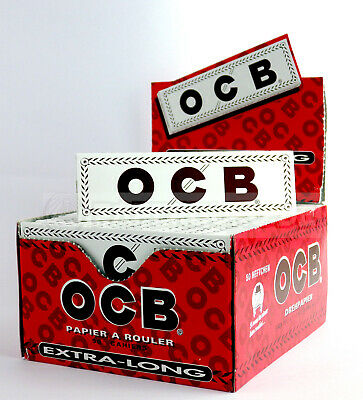 1 Box (50x) OCB Weiss lang white long King Size Papers Blättchen