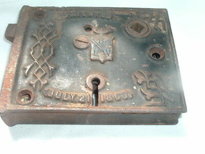 Antique 1863 Iron Box/rim Door Lock By Blw W Great Patina