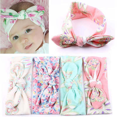 Cute Infant Newborn Baby Girls Floral Bow Hairband Turban Knot Rabbit Headband