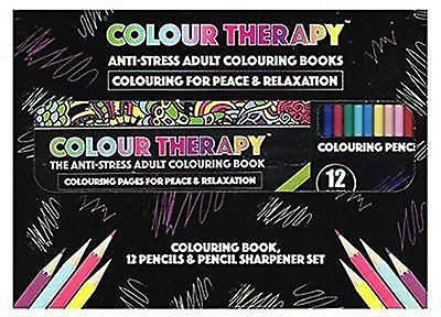 Colour Therapy Anti-Stress Pattern Colouring Book,Pencils & Sharpener Set