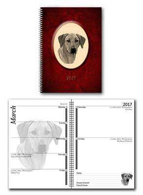 Rhodesian Ridgeback 2017 Large Dog Show Diary with Show Dates in 7 colours