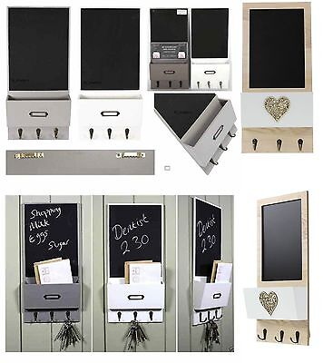 Vintage Letter Rack Holder With Key Hooks Shaby Chic Chalk board Wall Organizer