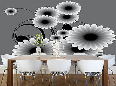 Black and White Flowers Wall Mural Photo Wallpaper GIANT DECOR Paper Poster
